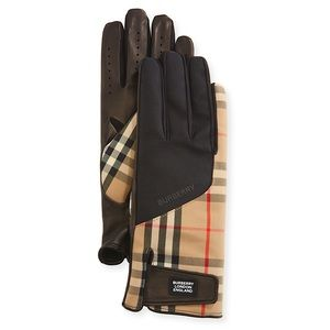 BURBERRY Archival Beige Bimaterial Gloves NWT